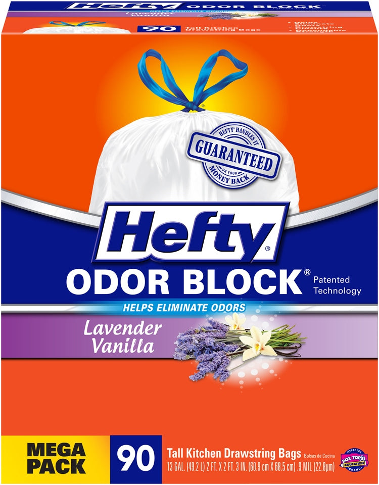 Hefty Odor Block, Tall Kitchen Bags, 13 Gallons, 90 ct