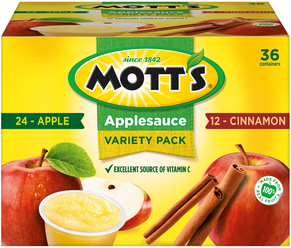 Mott's Applesauce Variety Pack, Apple & Cinnamon, 36 x 4 oz