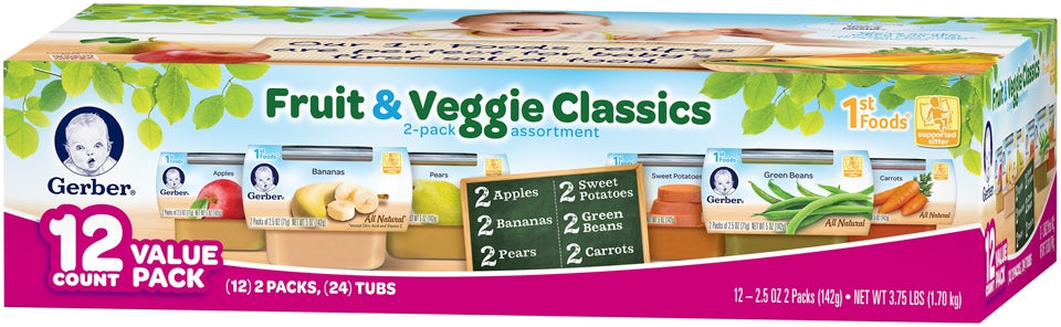 Gerber 1st Foods, Fruit & Veggie Classics Assorted Tubs, 24 x 2.5 oz