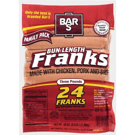 "Bar S Bun Length Franks ""Hot Dogs"" with Chicken, Pork and Beef, 48 oz (24 ct)"