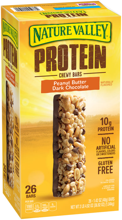 Nature Valley Protein Chewy Bars, Peanut Butter & Dark Chocolate, 26 bars
