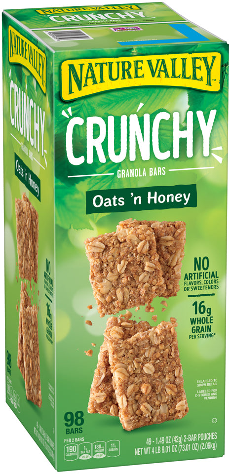 Nature Valley Crunchy Granola Bars, Oats 'n Honey, 98 bars