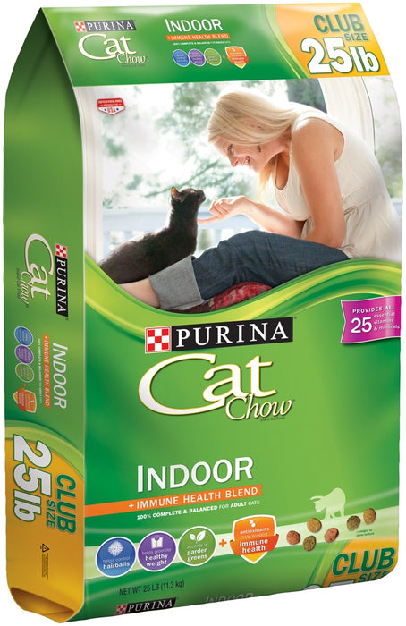 Purina Cat Chow Indoor Immune Health Blend Cat Food, 100% Complete & Balanced, 25 lbs