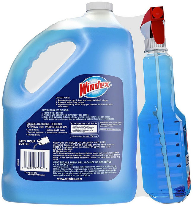 Windex Complete Glass & Multi-Surface Cleaner, Trigger Spray & Refill, 32 + 128 oz