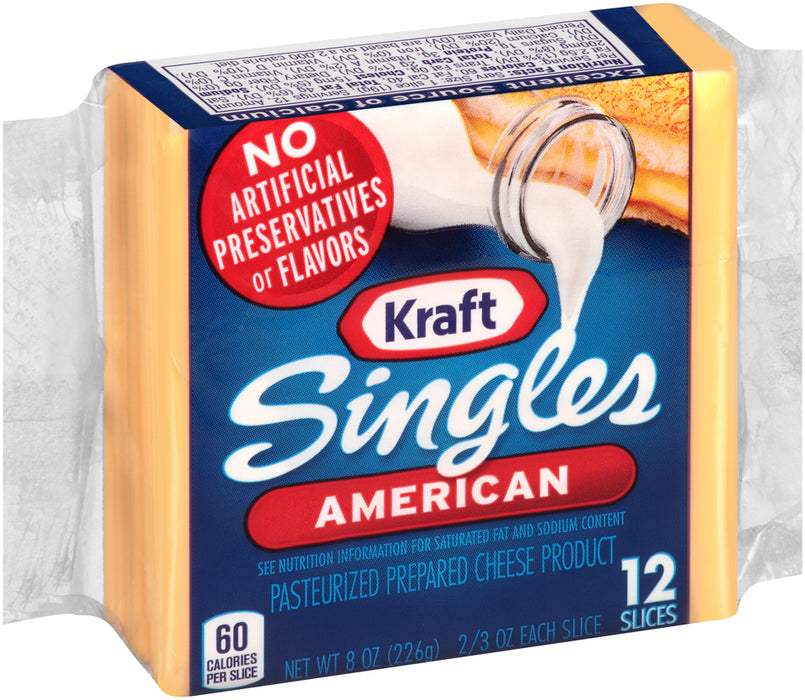 Kraft Singles American, Cheese Slices, 12 ct