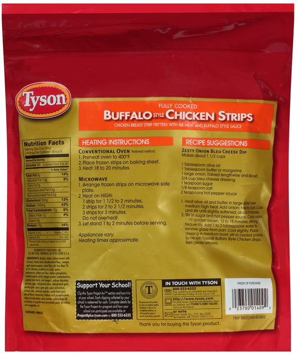 Tyson Buffalo Chicken Strips, Fully Cooked, 25 oz