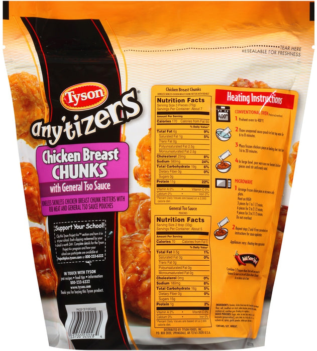 Tyson Any'tizers Chicken Breast Chunks with Tso Sauce, 26 oz