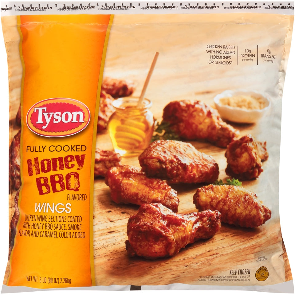 Tyson Honey BBQ Wings, Fully Cooked, 80 oz