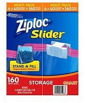 Ziploc Slider Storage Bags, Quart, 160 ct