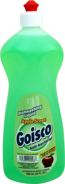 Goisco Anti-bacterial Dishwashing Liquid, Apple Scent, 32 oz