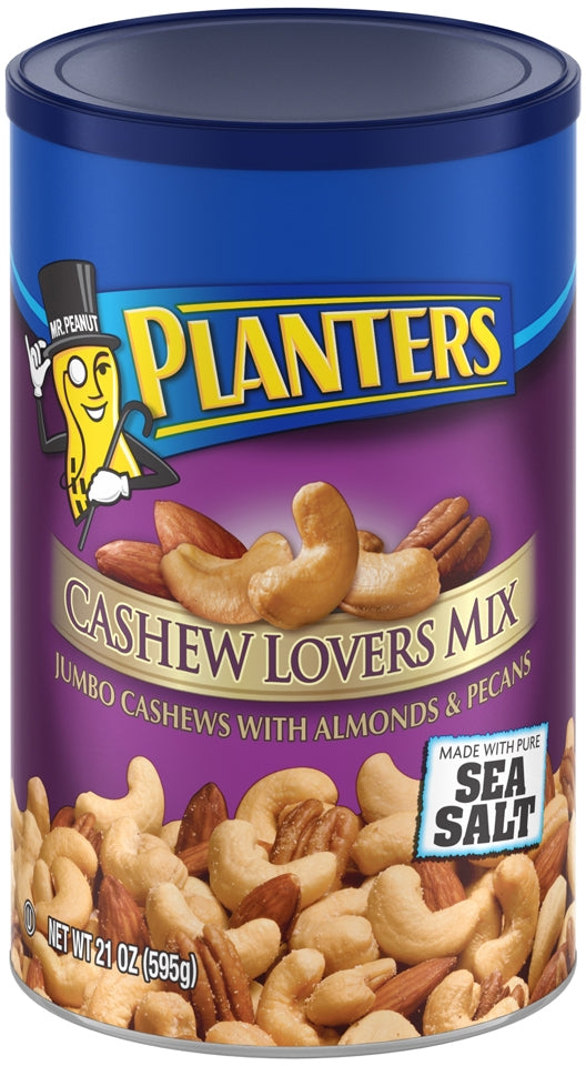 Planters Cashew Lovers Mix, Jumbo Cashews with Almonds & Pecans with Sea Salt, 21 oz (595 gr)