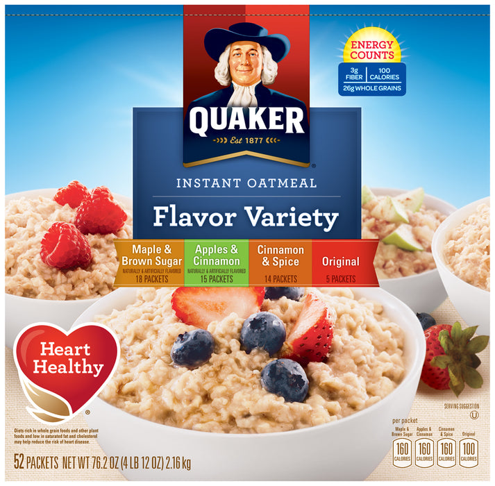 Quaker Oats, Instant Oatmeal, Flavor Variety, 52 pack - 12 oz