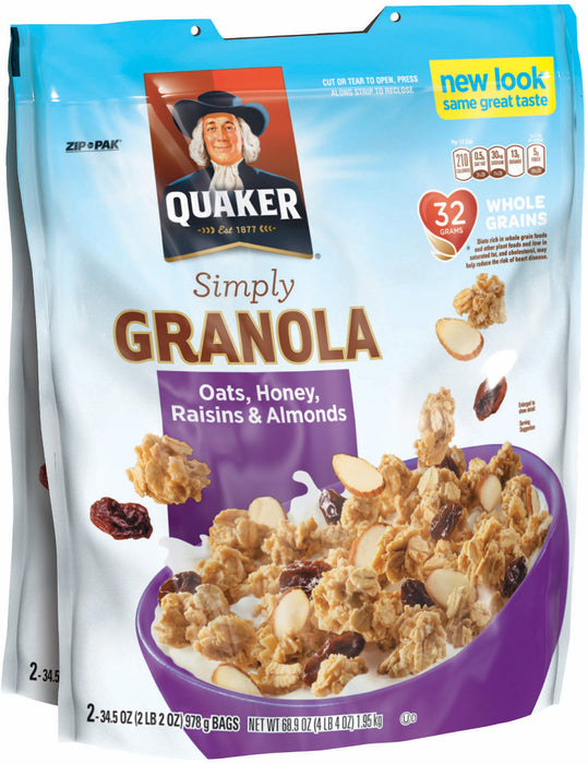 Quaker Granola Oats, Honey, Raisins & Almonds, 2 bags - 34.5 oz