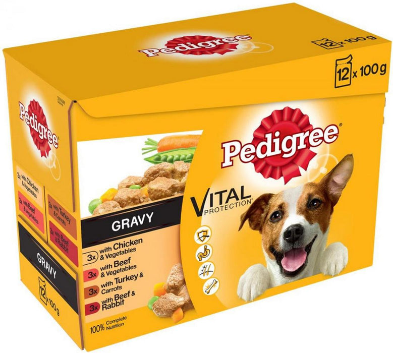 Pedigree Vital Protection 100% Complete Nutrition Dog Food Mixed Pouches, 12 x 100 gr