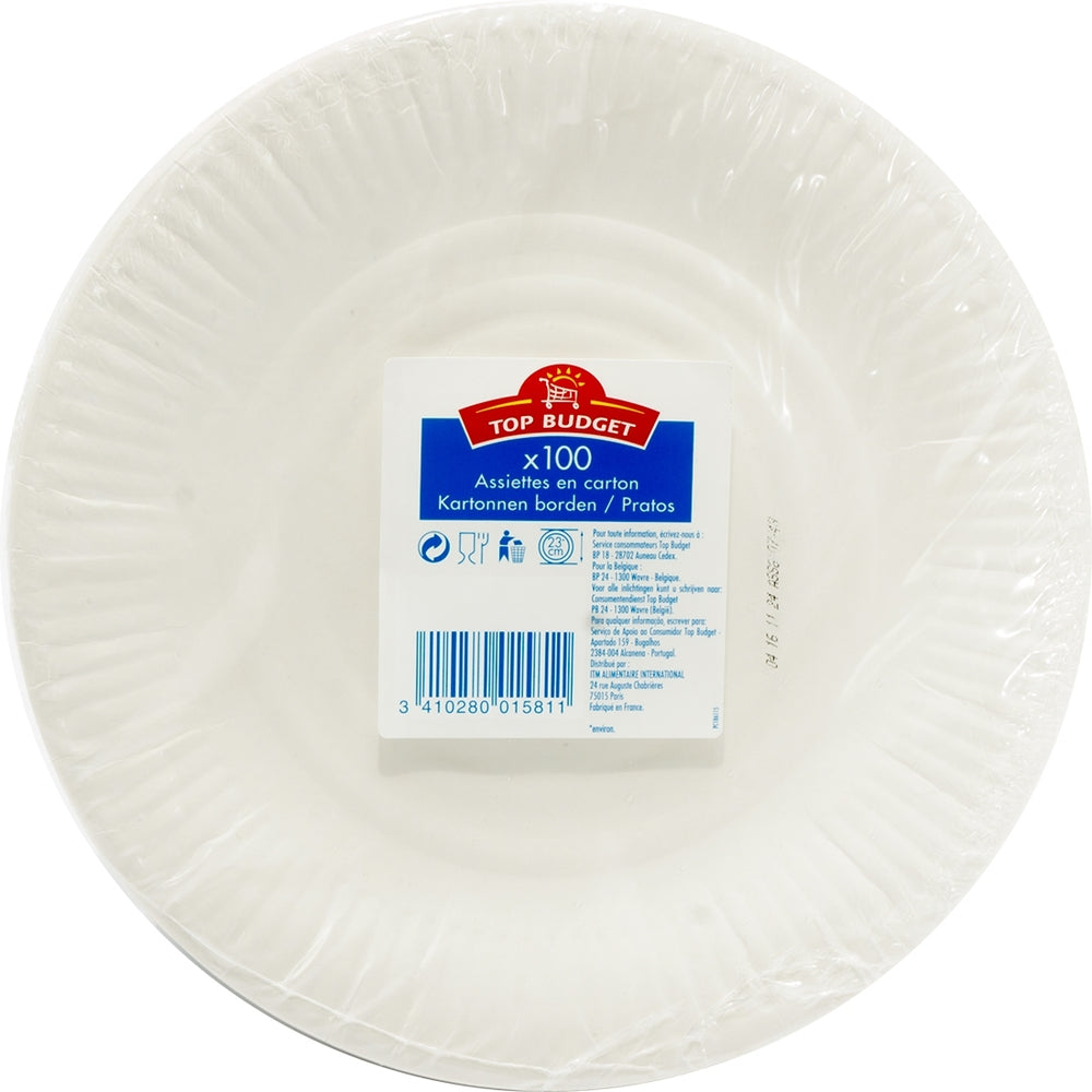 Top Budget Carton Paper Plates, 100 ct