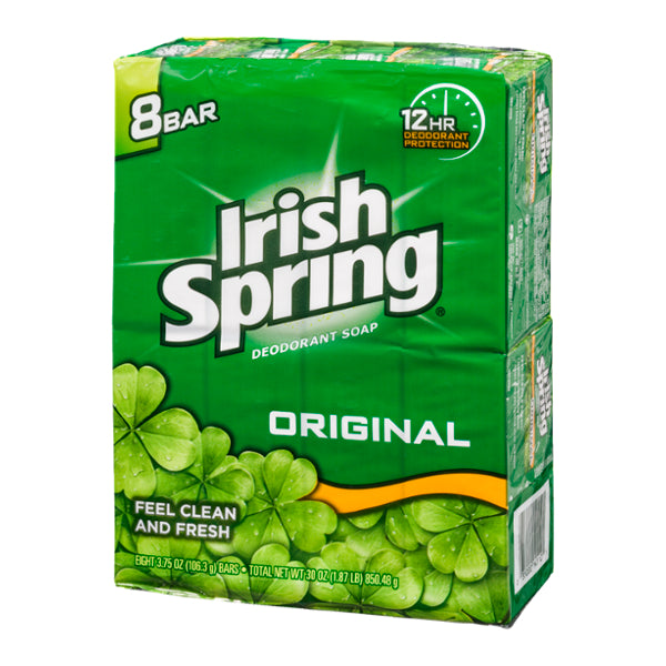 Irish Spring Deodorant Soap Bars, Original, 8 x 3.75 oz