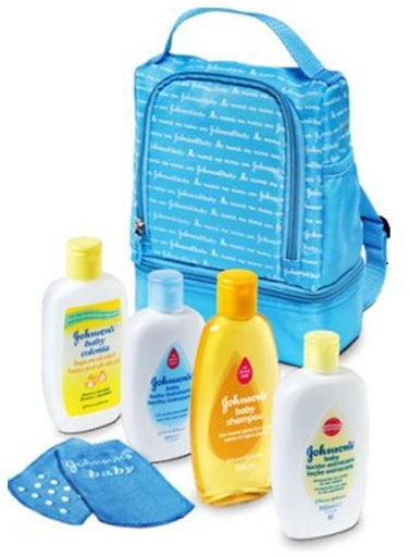 Johnson's My First Bag with Baby Bath, Cologne, Lotion, Shampoo and Socks, Blue, 1 ct