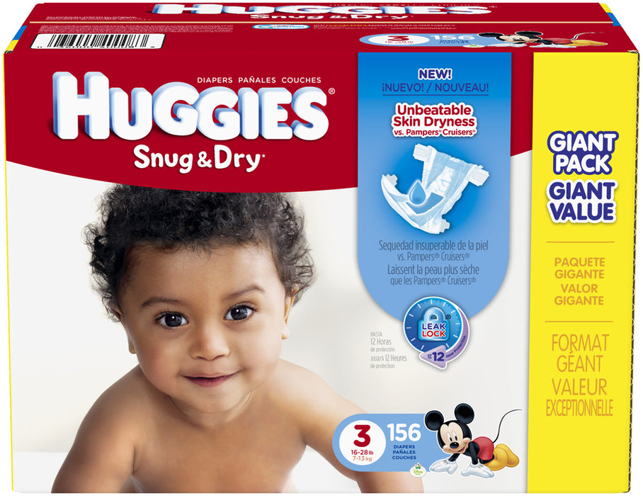 Huggies Snug & Dry Diapers Size 3, 7-13 kg, 156 ct