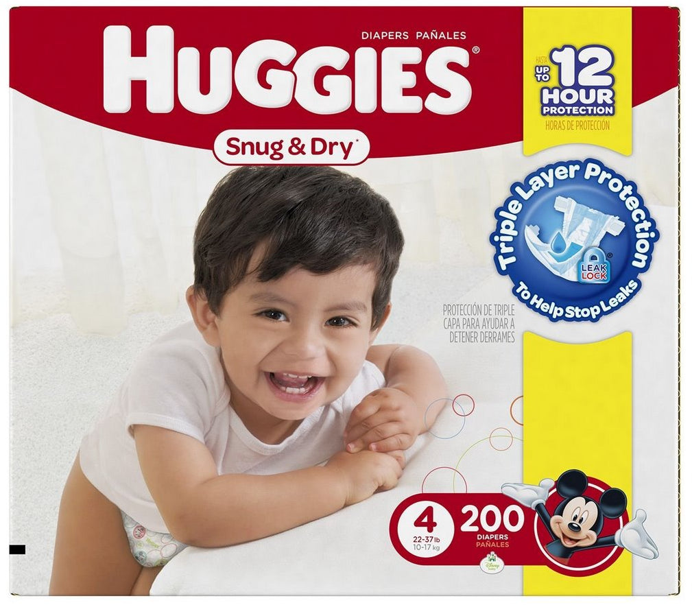 Huggies Snug & Dry Diapers Size 4, 10-17 kg, 200 ct