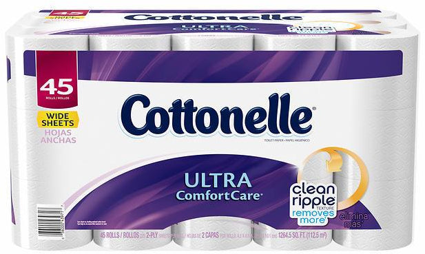 Cottonelle Ultra ComfortCare Toilet Paper, 185 2-ply sheets, 45 rolls
