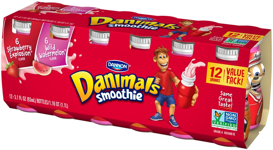 Dannon Danimals Smoothie Value Pack, 12 x 3.5 oz
