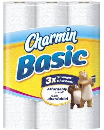 Charmin Basic Toilet Paper, Double Rolls, 319 1-ply sheets, 12 rolls