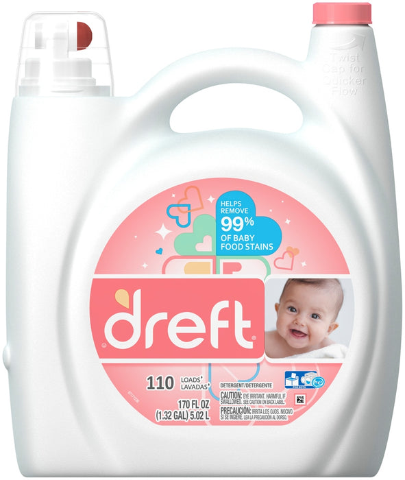 Dreft Laundry Detergent, Removes 99% of Baby Stains, 170 oz