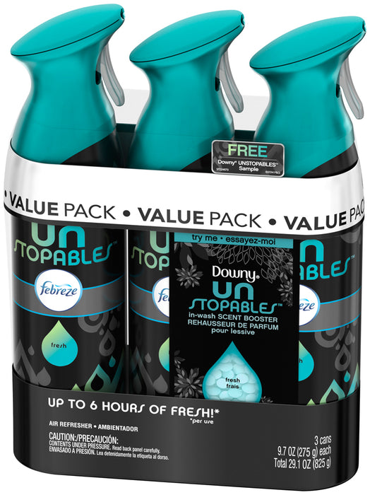 Febreze Fresh Downy Unstopables Air Refreshers, Value Pack, 3 x 9.7 oz