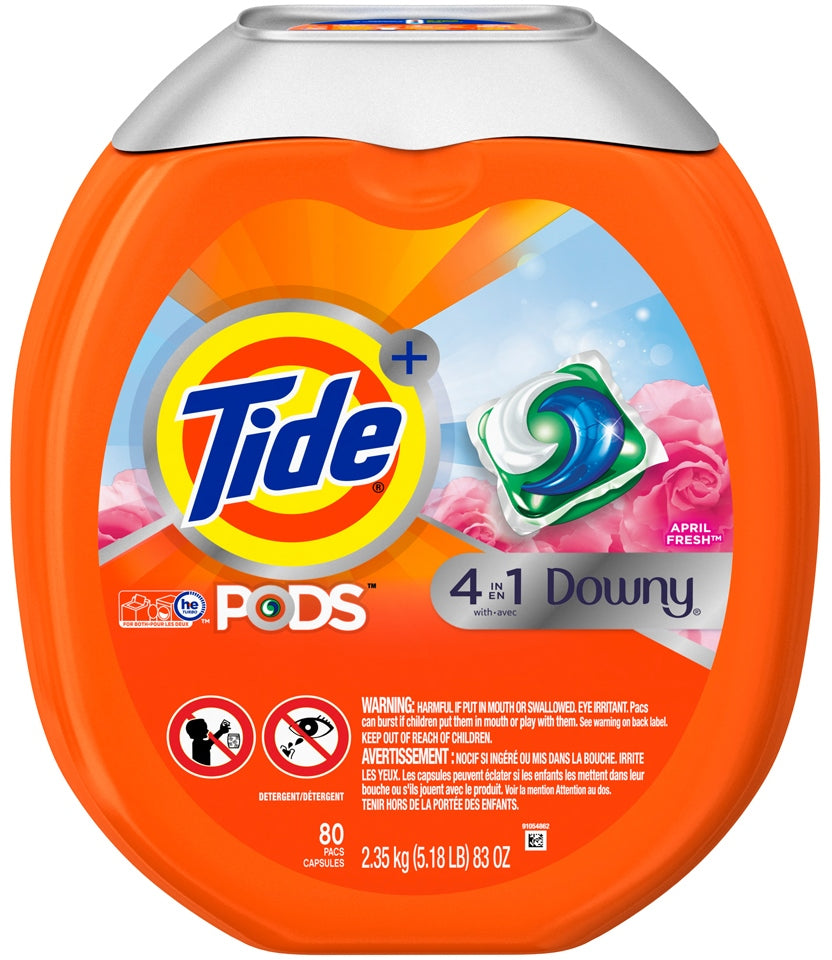 Tide 4 in 1 Downy Pods, April Fresh Scent, 80 ct