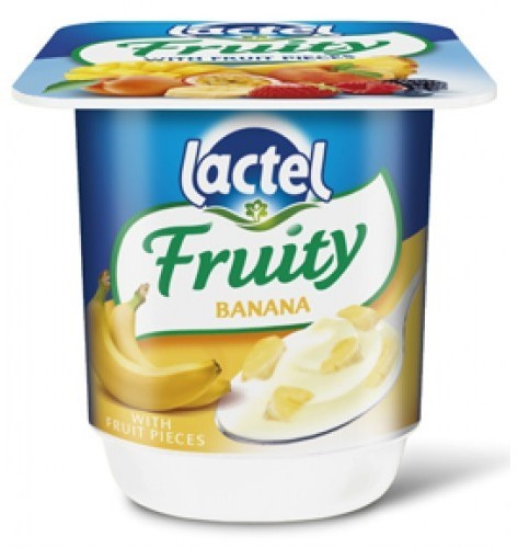 Lactel Fruity Yogurt, Banana, 4 x 125 gr