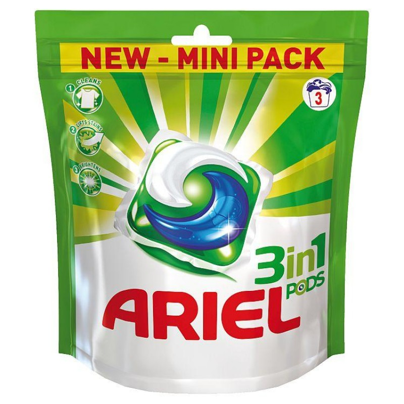 Ariel 3 in 1 Mini Pack Laundry Detergent Pods, 3 loads