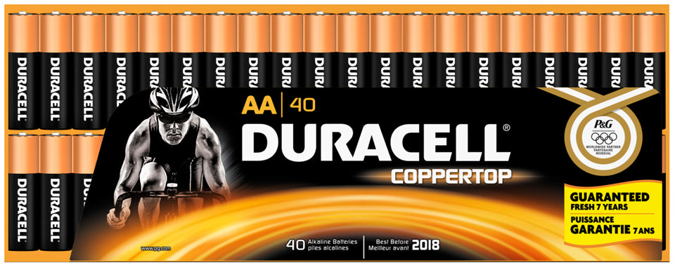 Duracell Coppertop AA Alkaline Batteries, 40 ct