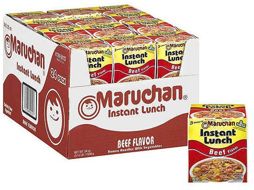 Maruchan Instant Lunch Ramen Noodles with Vegetables, Beef Flavor, 24 x 2.25 oz