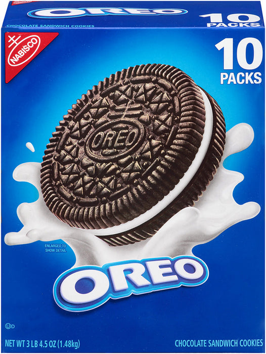 Nabisco Oreo Chocolate Sandwich Cookies, 10 packs