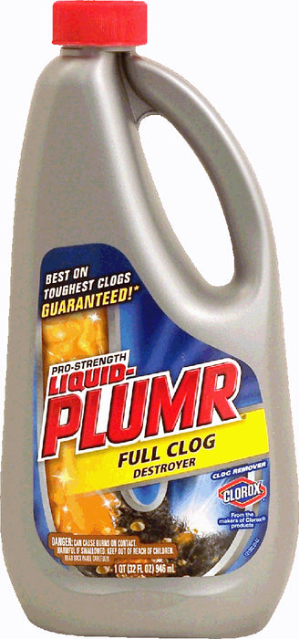 Clorox Liquid-Plumr Clog Remover, Full Clog Destroyer, 32 oz