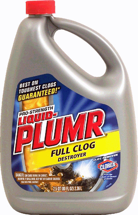 Clorox Pro-Strength Liquid-Plumr Clog Remover, Full Clog Destroyer, 80 oz