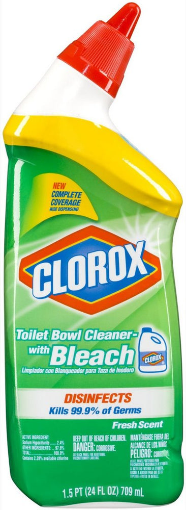 Clorox Disinfectant Toilet Bowl Cleaner with Bleach, Fresh Scent, 24 oz