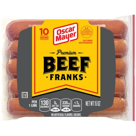 "Oscar Mayer Premium Beef Franks ""Hot Dogs"", 15 oz (10 ct)"