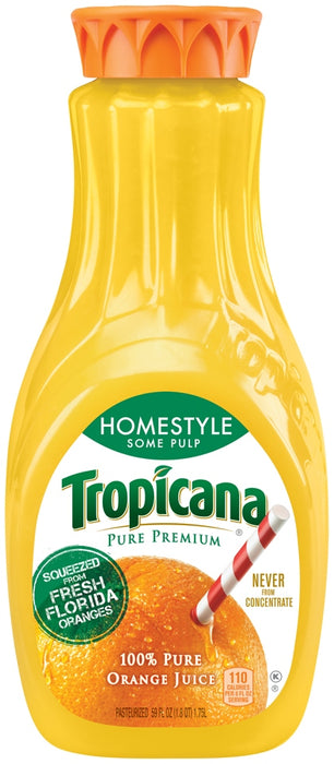 Tropicana 100% Pure Orange Juice, Homestyle Some Pulp, 1.75 L