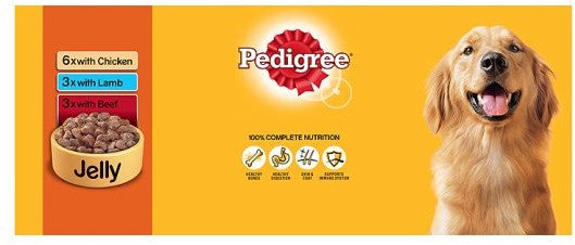 Pedigree Dog Tins Meat Selection in Jelly, Variety Pack, 12 x 400 gr