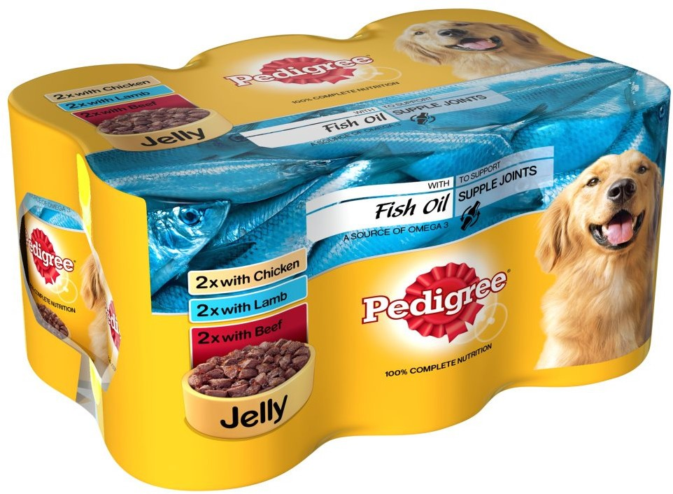 Pedigree Dog Tins Meat Selection in Jelly with Fish Oil, Variety Pack, 6 x 400 gr