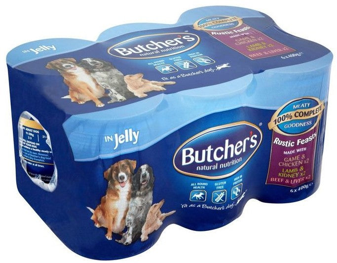 Butcher's Dog Food Meaty Stews in Jelly, Variety Pack, 6 x 400 gr