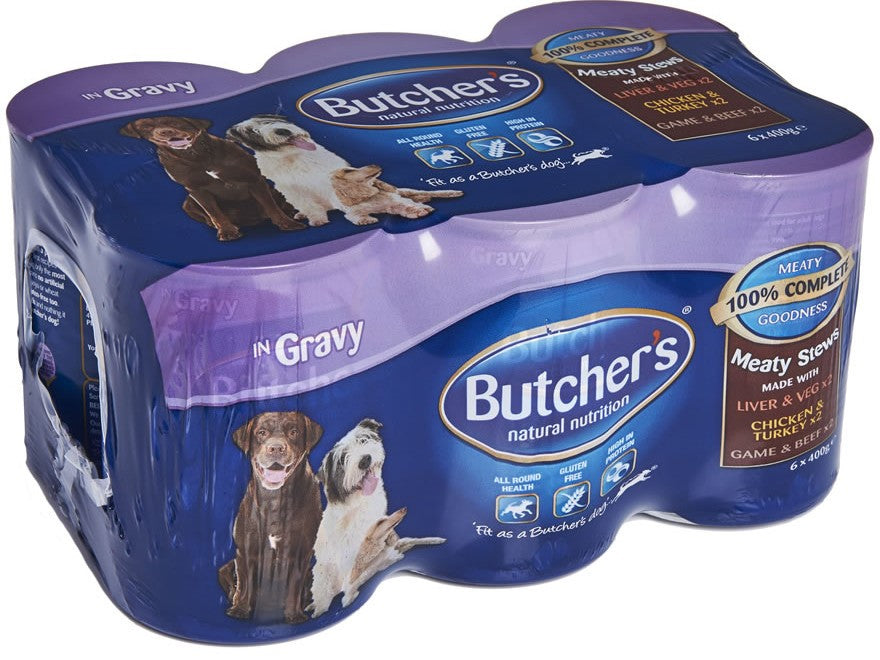 Butcher's Dog Food Meaty Stews in Gravy, Variety Pack, 6 x 400 gr