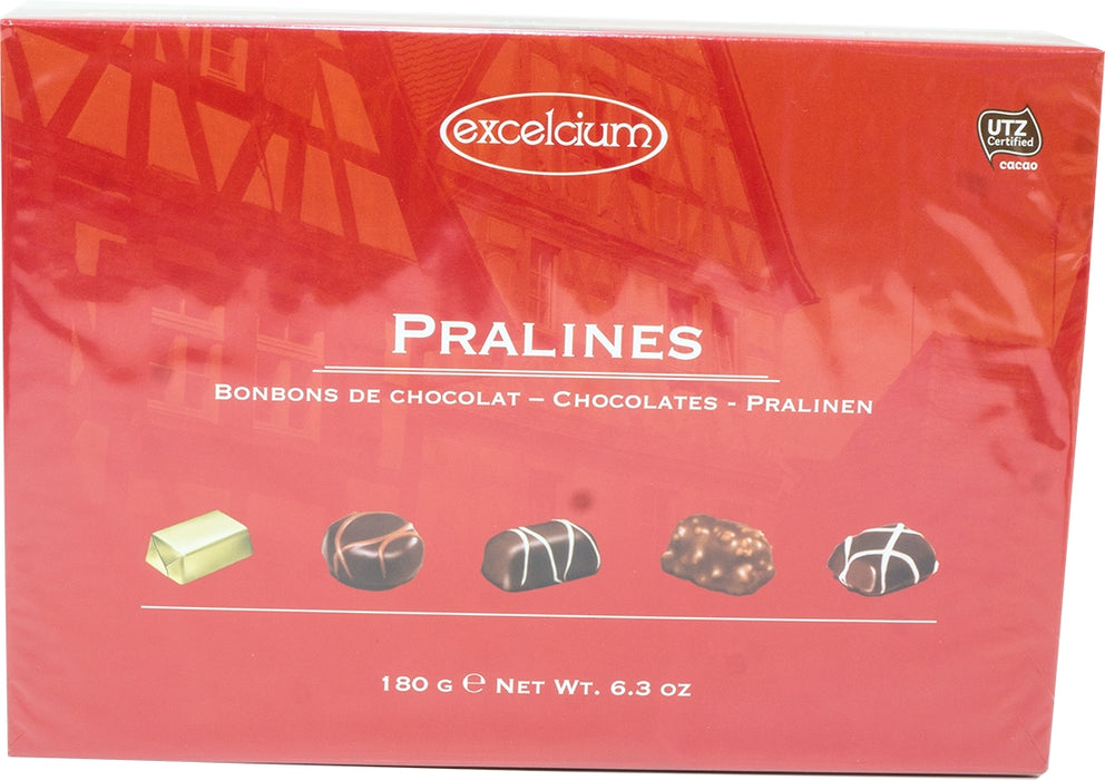 Exelcium Assorted Chocolate Pralines, Red Box, 180 gr