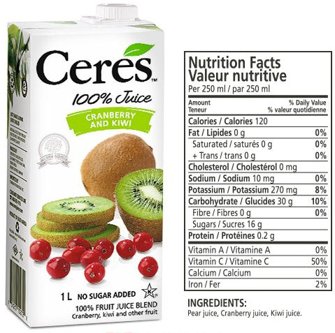 Ceres Cranberry Kiwi Juice, 1 L
