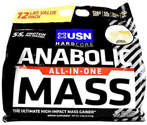 USN Anabolic All-In-One Mass Gainer, Vanilla Ice Cream Flavor , 12 lbs