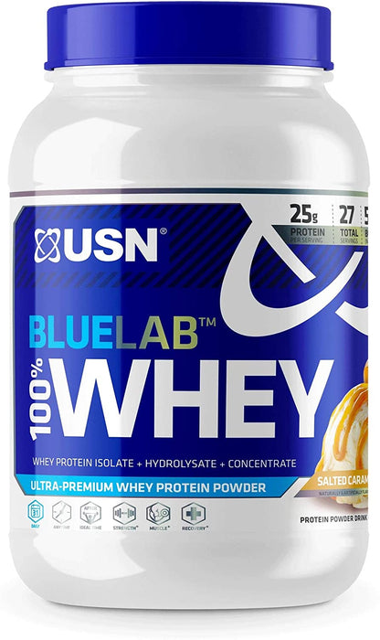 USN Blue Lab 100% Whey Protein Powder, Salted Caramel Flavor, 2 lbs