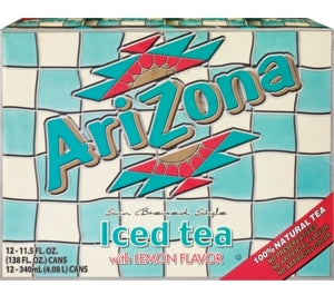 AriZona Iced Tea with Lemon Flavor, Value Pack, 12 x 11.5 oz