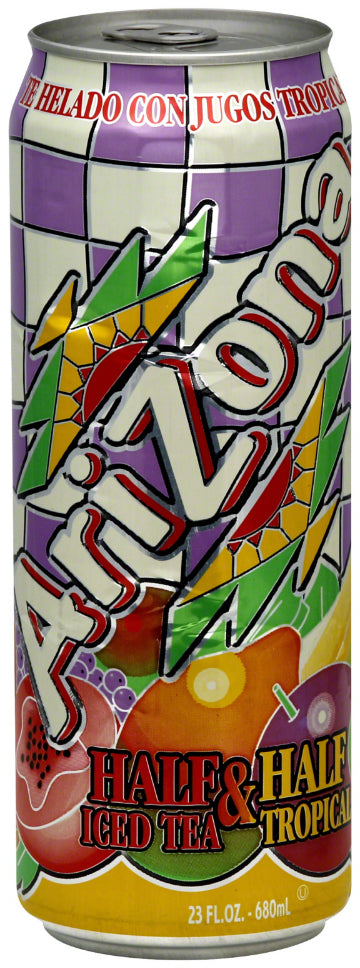 AriZona Half & Half, Iced Tea & Tropical Juice, 23 oz