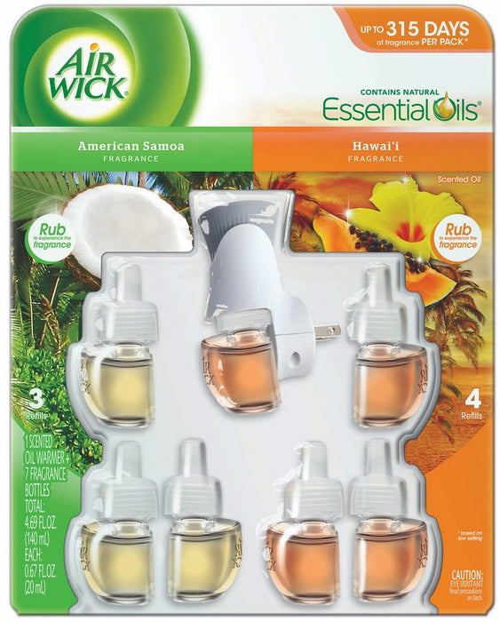 Air Wick Scented Oil Kit, American Samoa and Hawaii Fragrances, 8 ct